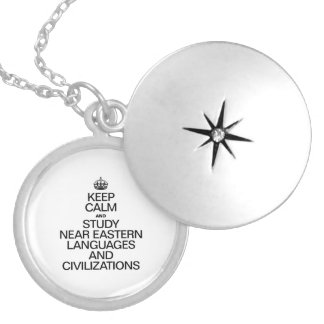 KEEP CALM AND STUDY NEAR EASTERN LANGUAGES ROUND LOCKET NECKLACE