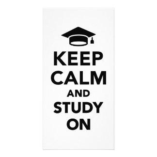 Keep calm and study on customized photo card