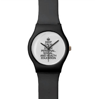 KEEP CALM AND STUDY PERSONAL, SOCIAL, AND HEALTH E WRISTWATCH