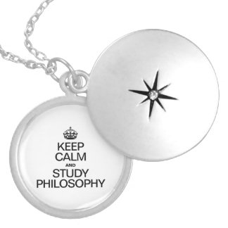 KEEP CALM AND STUDY PHILOSOPHY ROUND LOCKET NECKLACE