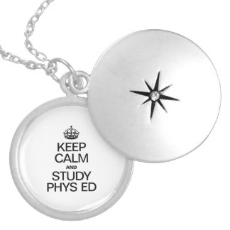 KEEP CALM AND STUDY PHYS ED ROUND LOCKET NECKLACE