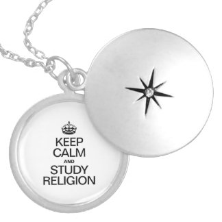 KEEP CALM AND STUDY RELIGION ROUND LOCKET NECKLACE