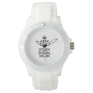 KEEP CALM AND STUDY SOCIAL WORK WRISTWATCHES