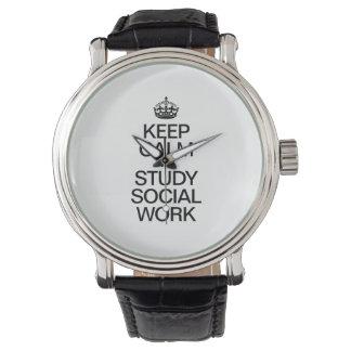 KEEP CALM AND STUDY SOCIAL WORK WRISTWATCH