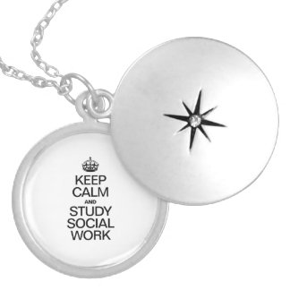KEEP CALM AND STUDY SOCIAL WORK ROUND LOCKET NECKLACE
