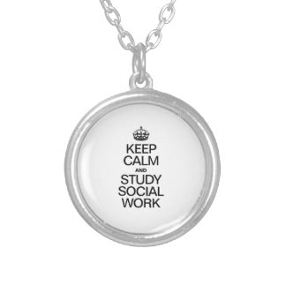 KEEP CALM AND STUDY SOCIAL WORK ROUND PENDANT NECKLACE