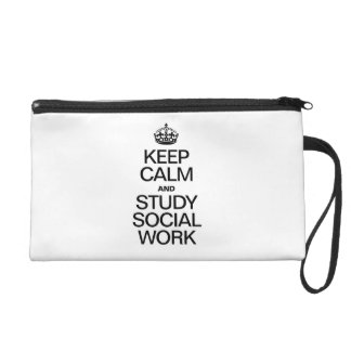 KEEP CALM AND STUDY SOCIAL WORK WRISTLET CLUTCHES