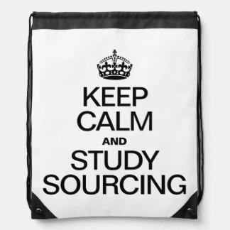 KEEP CALM AND STUDY SOURCING DRAWSTRING BAG