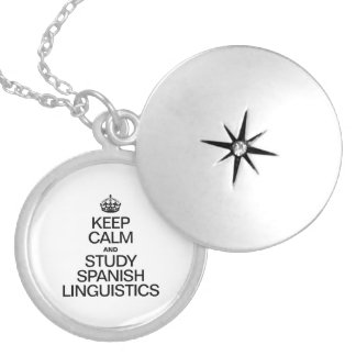 KEEP CALM AND STUDY SPANISH LINGUISTICS ROUND LOCKET NECKLACE