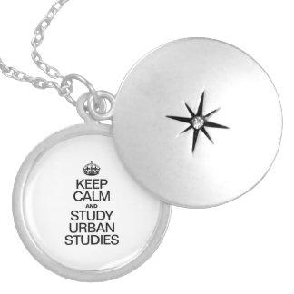 KEEP CALM AND STUDY URBAN STUDIES ROUND LOCKET NECKLACE