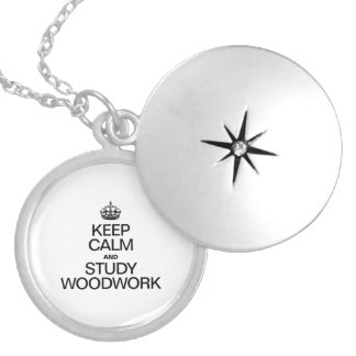 KEEP CALM AND STUDY WOODWORK ROUND LOCKET NECKLACE