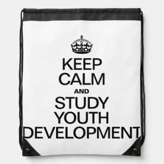 KEEP CALM AND STUDY YOUTH DEVELOPMENT DRAWSTRING BAGS