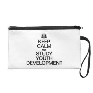 KEEP CALM AND STUDY YOUTH DEVELOPMENT WRISTLET PURSE