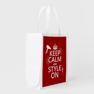 Keep Calm and Style On (any background color) Reusable Grocery Bag