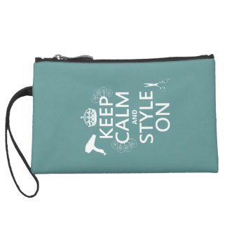 Keep Calm and Style On (any background color) Suede Wristlet