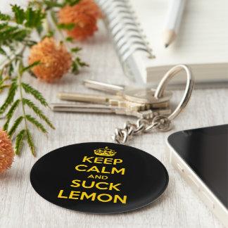 Keep calm and suck lemon basic round button key ring