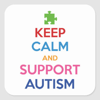 Keep Calm And Support Autism Square Sticker