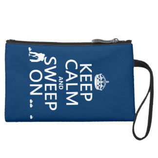 Keep Calm and Sweep On (curling)(any color) Suede Wristlet