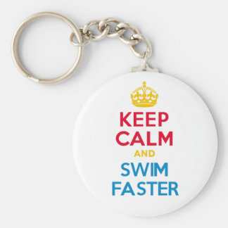 KEEP CALM and SWIM FASTER Basic Round Button Key Ring