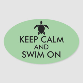 Keep Calm and Swim On Honu Sea Turtle Custom Oval Sticker