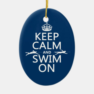 Keep Calm and Swim On (in any color) Ceramic Oval Decoration