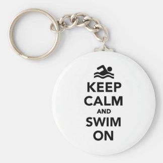 Keep calm and swim on key chains