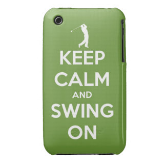 Keep Calm and Swing On Green iPhone 3 Case