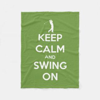 Keep Calm and Swing On Green Golf Fleece Blanket