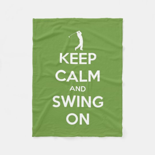 Keep Calm and Swing On Green Golf Fleece Blanket