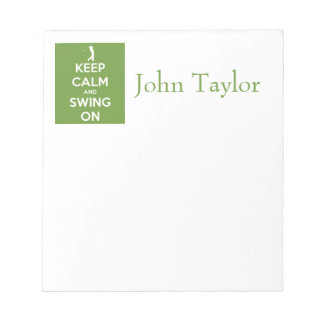 Keep Calm and Swing On Green Notepad