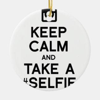 KEEP CALM AND TAKE A SELFIE CHRISTMAS ORNAMENT