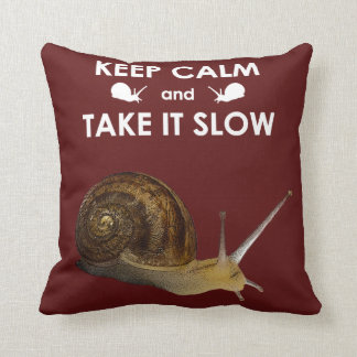 Keep Calm and Take it Slow Pillow (Burgundy)