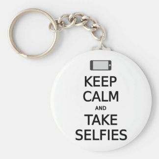 keep calm and take selfies basic round button key ring