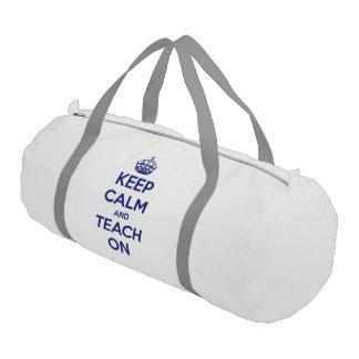 Keep Calm and Teach On Blue on White Gym Duffel Bag