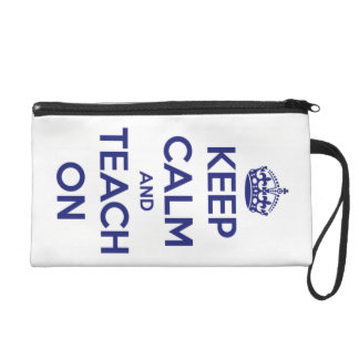 Keep Calm and Teach On Blue on White Personalized Wristlet