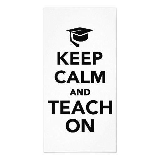 Keep calm and teach on photo greeting card