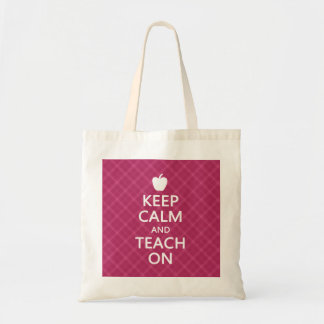Keep Calm and Teach On, Pink Plaid Budget Tote Bag