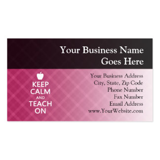 Keep Calm and Teach On, Pink Plaid Business Card Templates