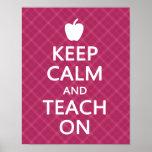 Keep Calm and Teach On, Pink Plaid Print