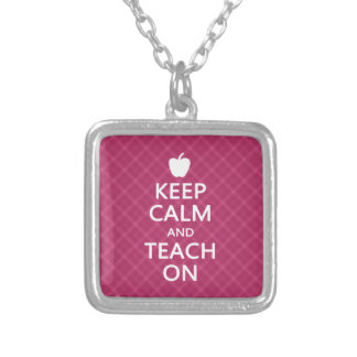 Keep Calm and Teach On, Pink Plaid Silver Plated Necklace