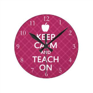 Keep Calm and Teach On, Pink Plaid Wall Clock