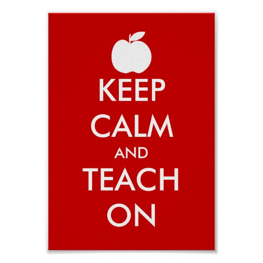 Keep calm and teach on poster with apple