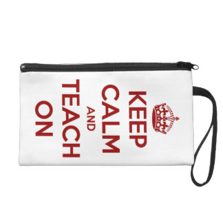 Keep Calm and Teach On Red on White Personalized Wristlets