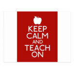 Keep Calm and TEACH on-red Post Cards