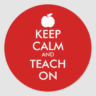 Keep calm and teach on stickers with apple icon