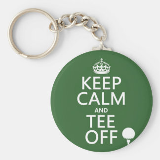 Keep Calm and Tee Off - Golf presents, all colors. Basic Round Button Key Ring