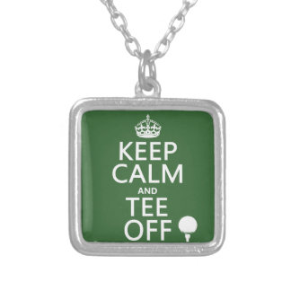 Keep Calm and Tee Off - Golf presents, all colors. Silver Plated Necklace