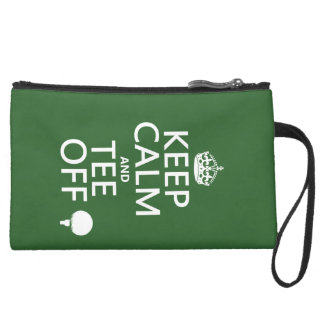 Keep Calm and Tee Off - Golf presents, all colors. Suede Wristlet