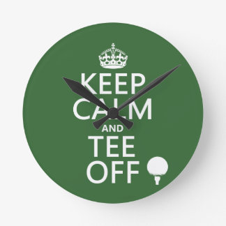 Keep Calm and Tee Off - Golf presents, all colors. Wall Clock