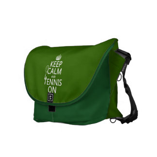 Keep Calm and Tennis On (any background color) Courier Bags